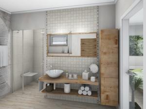 LH15 -  Bad mit Dusche,WC, Bidet und Wellness, Stil Landhaus,  Highend-Fotorealistik