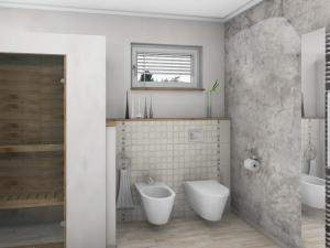 LH17 -  Bad mit Dusche,WC, Bidet und Wellness, Stil Landhaus,  Highend-Fotorealistik