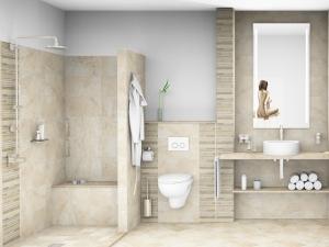 LH1 -Bad mit WC und Dusche, Stil Landhaus,  Highend Fotorealistik, Galerie Landhaus 1