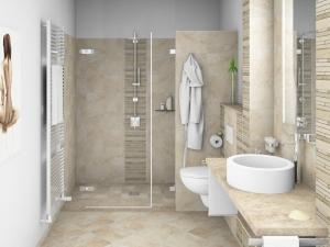 LH2 -Bad mit WC und Dusche, Stil Landhaus,  Highend Fotorealistik, Galerie Landhaus 1