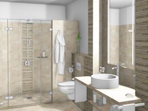 LH3 -Bad mit WC und Dusche, Stil Landhaus,  Highend Fotorealistik, Galerie Landhaus 1