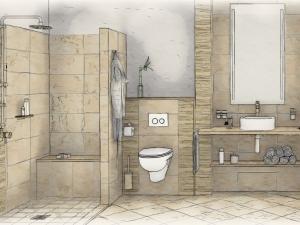 LH4 - Bad mit WC und Dusche, Stil Landhaus,  Aquarell, Galerie Landhaus 1
