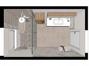 LH50 Grundriss 3D, Bad Landhaus mit Flusskiesel