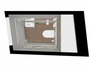 M100 3D-Grundriss WC in creme-braun
