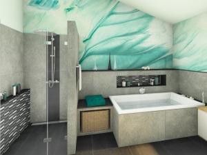 M17 - Perspektive Dusche und Wanne,  Wandflliesen 120x120 cm, Highend 3D Fotorealistik, Wandfreske