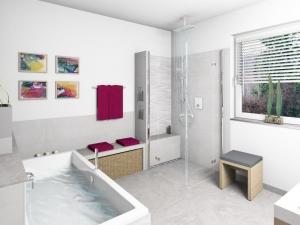 M23 Perspektive Dusche,  Wandflliesen 32x89 cm, Highend 3D Fotorealistik
