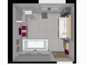 M26 3D Grundriss Badplanung, Highend Fotorealistik