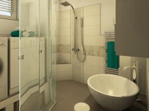 M40 Perspektive Dusche,  Bad mit floralen Akzenten, 3D-Highend Fotorealistik