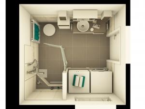 M42 3D-Grundriss, Bad mit floralen Akzenten und barrierefreier Duschzone, Fotorealistik