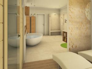 M49 Perspektive Wellnesszone, Badewanne und Dusche, Bad klassisch, 3D HIghend-Fotorealistik