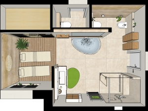 M50 3D-Grundriss, Bad im klassischen Stil mit Wellnesszone, Visualisierung Fotorealistik