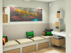 M52 Perspektive verflieste Sitzbank, 3D Highend-Fotorealistik