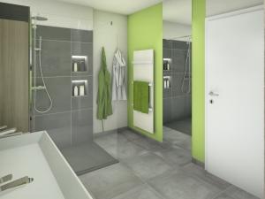 M62 Perspektive Spiegel raumhoch, Modernes Bad mit Fliesen in Betonoptik, 3D Highend-Fotorealistik