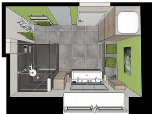 M63 3D-Grundriss, Modernes Bad mit Fliesen in Betonoptik