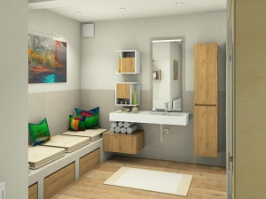 M57 Perspektive Waschtisch, verflieste Sitzbank, 3D Highend-Fotorealistik