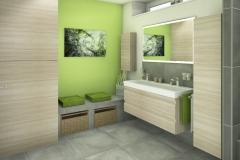 M59 Perspektive Waschtisch mit Sitzbank,  Modernes Bad mit Fliesen in Betonoptik, 3D Highend-Fotorealistik