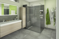 M60 Perspektive Dusche, Modernes Bad mit Fliesen in Betonoptik, 3D Highend-Fotorealistik
