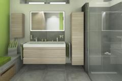 M61 Perspektive Waschtisch, Modernes Bad mit Fliesen in Betonoptik, 3D Highend-Fotorealistik