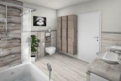 M65 Dusche und WC, Fliesen in Natursteinoptik