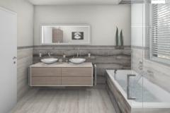 M67 Waschtisch und Badewanne, Fliesen in Natursteinoptik