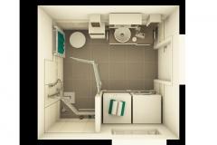 M42 Bad mit floralen Akzenten, aufgelockerte Waschtisch-Möbelkombination und barrierefreie Duschzone