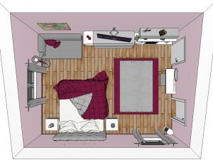 1 - Mädchenzimmer im Teenager-Alter. Angrenzender Schrankraum, Schminktisch, Couch, Multimedia