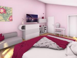 3 - Mädchenzimmer im Teenager-Alter. Angrenzender Schrankraum, Schminktisch, Couch, Multimedia