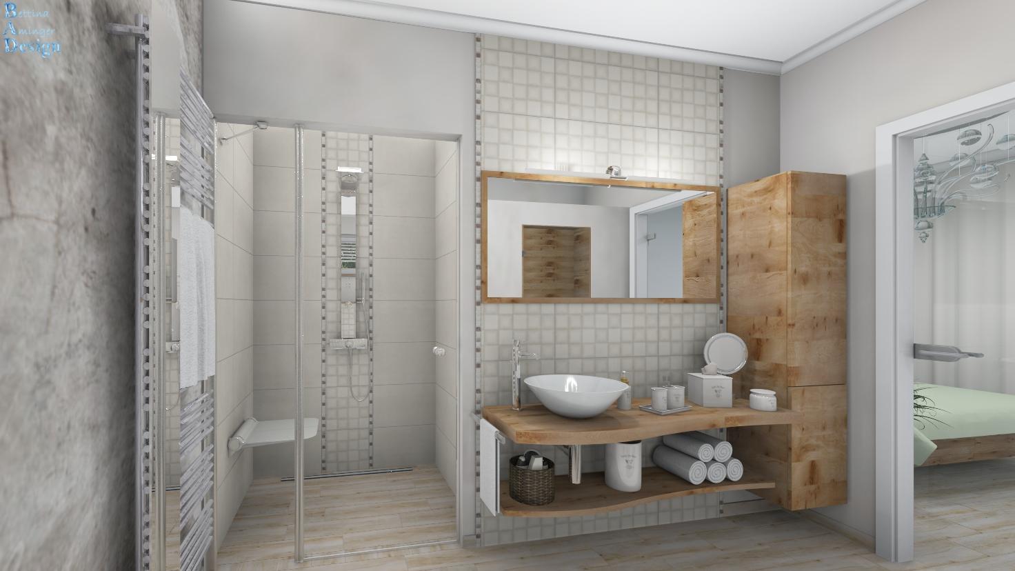 Bad zeitlos mit Dusche, WC, Bidet und Wellness