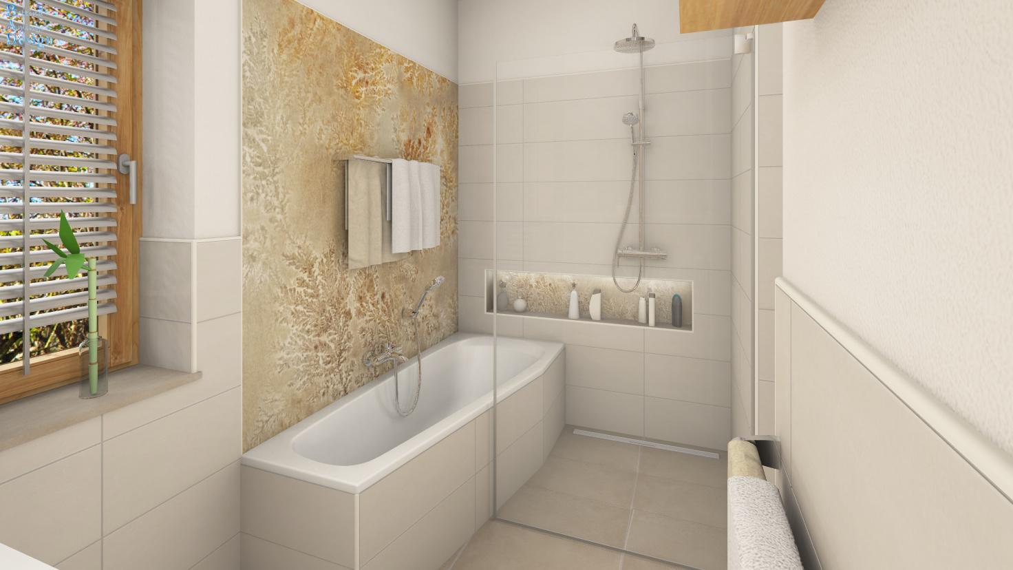 Bad mit Feuchtraumtapete